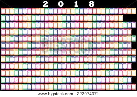 2018 Annual Planner color weekdays white note space on black background
