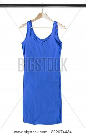 Blue sleeveless mini dress on wooden clothes rack isolated over white