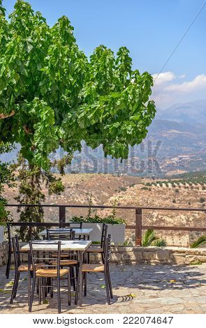 Cafe Terrace With A Beautiful View Of Mountains Landscape
