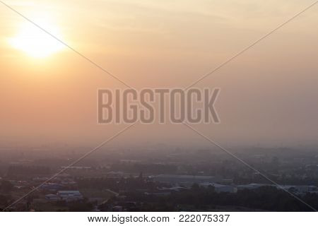 Morning Sunrise Over Tranquil City At Maptaphut Huaypong Rayong Thailand.