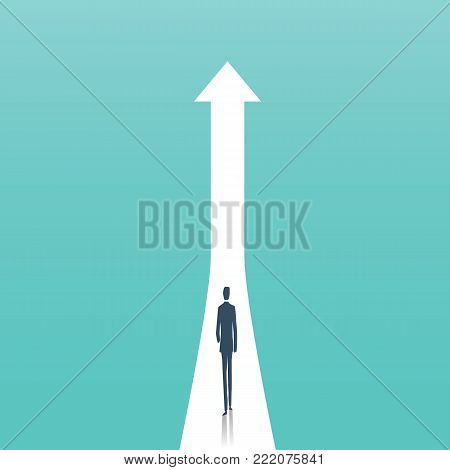 Business growth vector concept with businessman on path to higher position. Symbol of success, opportunity, career promotion and development. Eps10 vector illustration.