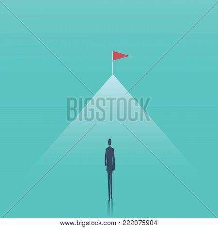 Business goal and challenge vector concept. Businessman walking towards top of the mountain. Symbol of aspiration, future, progress, achievement, motivation. Eps10 vector illustration.