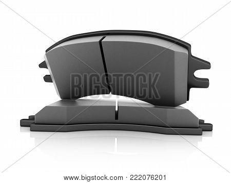 Black brake pads on white background. 3d illustration