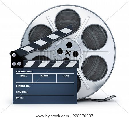 Clap-board and film spool on white background. 3d illustration