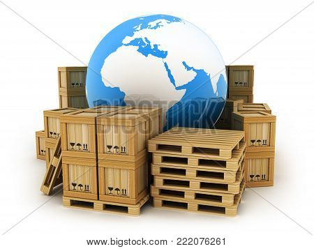 Earth and many pallet and post box. 3d illustration