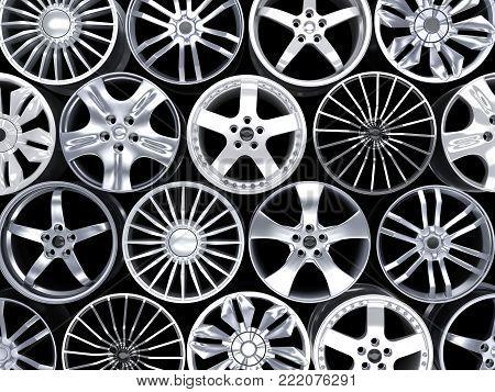 Many car discs on black background. 3d illustration