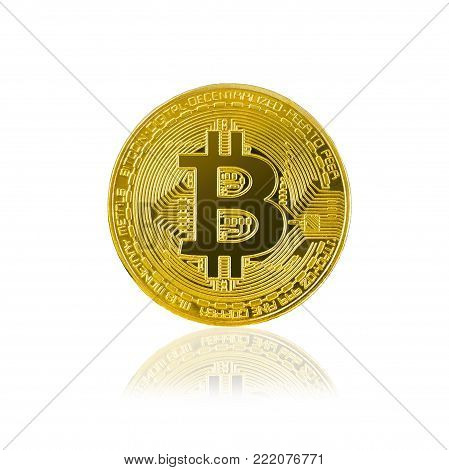 bitcoin isolated on white background; cryptocurrency physical bitcoin coin