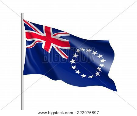 Waving flag of Cook Islands. Illustration of Oceania country flag on flagpole. Vector 3d icon isolated on white background