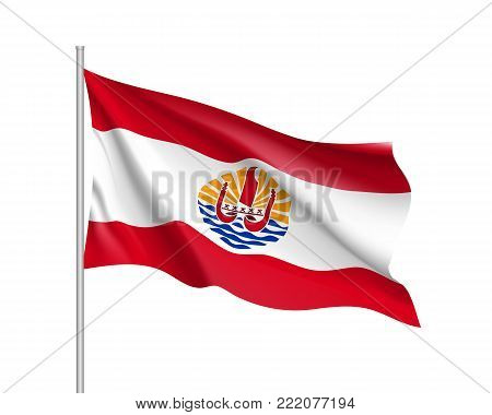 Waving flag of French Polynesia. Illustration of Oceania country flag on flagpole. Vector 3d icon isolated on white background