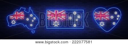 Flag and map of Australia is a collection of neon signs. Vector Illustrations, Neon Banner, Luminous Billboard, Bright Night Advertising. Element, neon symbol for the day of Australia on January 26th.