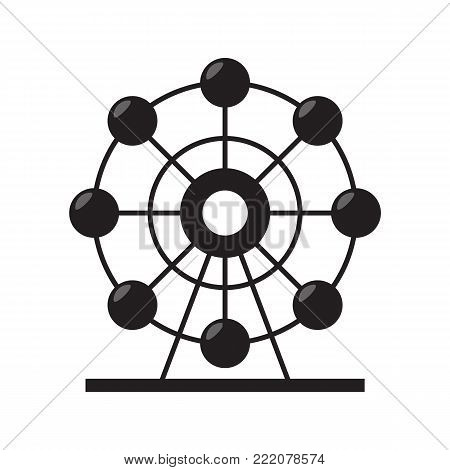 Ferris wheel silhouette icon isolated on white background. Vector stock.
