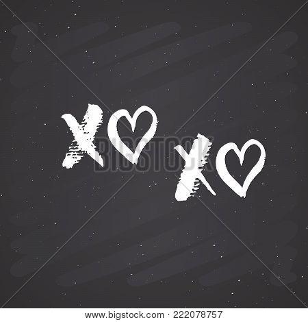 XOXO brush lettering sign, Grunge calligraphiv c hugs and kisses Phrase, Internet slang abbreviation XOXO symbols, vector illustration isolated on white background.