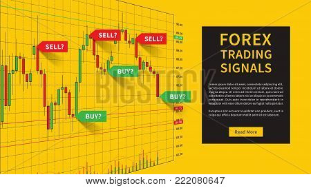 Forex Trading School vector illustration. Stock market strategies and online trading candlestick chart on desktop computer concept. Online stock market trading seminar graphic design.