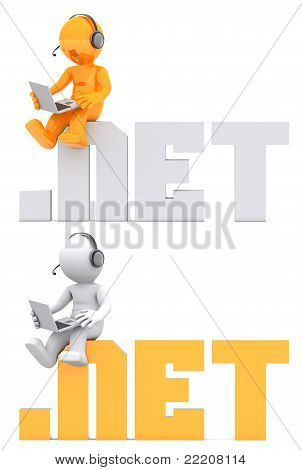 3D Character Sitting On .net Domain Sign.