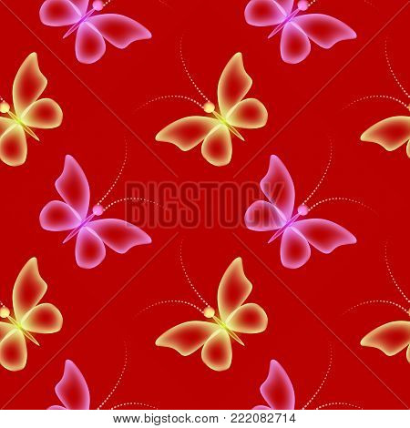 Glowing background with magic  butterflies and sparkling stars.Transparent butterfly and glowing stars.