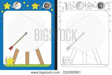 Preschool worksheet for practicing fine motor skills - tracing dashed lines of archery target