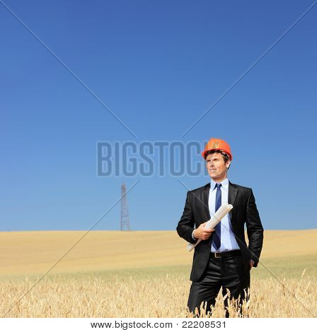Young foreman wearing protective helmet and holding blueprints in a wheat field