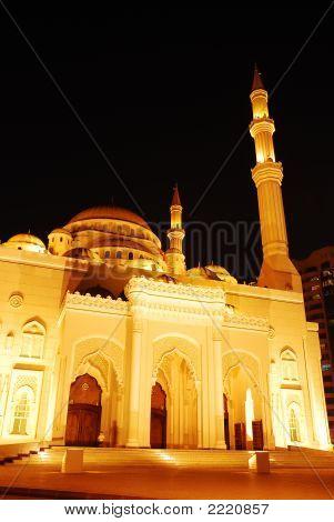 Masjid In Sharjah At Night
