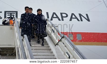 Belgrade, Serbia. January 15th 2018 - Japanese Prime Minister Shinzo Abe in official visit to Republic of Serbia.