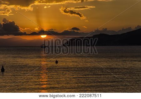 View of evocative sunset in the coasts of Italy