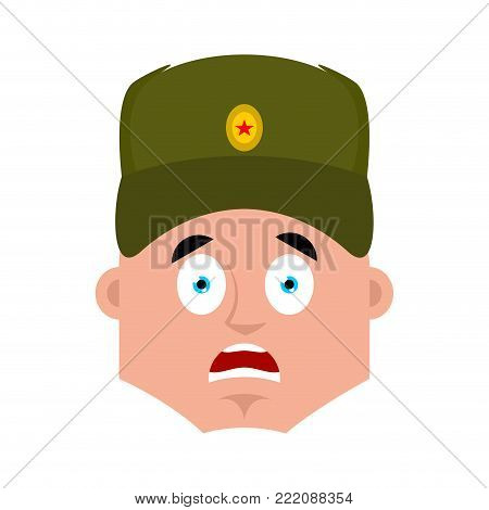 Russian soldier scared OMG emoji. Warrior Oh my God emotion. Frightened Military in Russia. Illustration for 23 February. Defender of Fatherland Day. Army holiday for Russian Federation