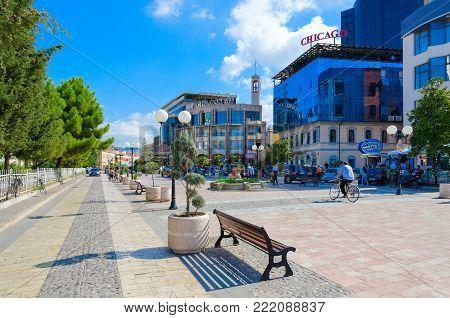 SHKODER, ALBANIA - SEPTEMBER 6, 2017: Unknown people walk along pedestrian street (Rruga Kole Idromeno) in center of Shkoder, Albania