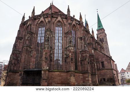 View from apse of medieval Saint Sebaldus cathedral gothic architecture elements in Nurnberg city, Bavaria, Germany