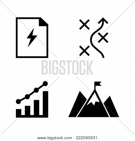 Planning. Simple Related Vector Icons Set for Video, Mobile Apps, Web Sites, Print Projects and Your Design. Black Flat Illustration on White Background.
