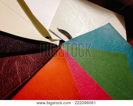 Good quality natural leather various color, samples from the skin, colored leather close up. Pattern with made of genuine leather. palette multi-colored.
