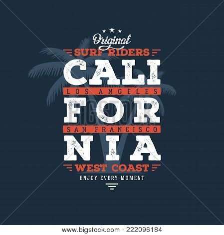 California Surf Riders typography. T-shirt design, graphics, stamp, label typography Vector illustration