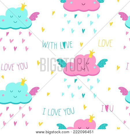 Seamless pattern with cute clouds and rain of hearts. Greeting card with a cute cloud of love. Vector cartoon illustration with hand drawn lettering for wedding, birthday and other design.