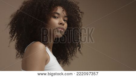 mixed race black woman portrait with big afro hair, curly hair in beige background