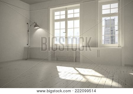 Bright light unfurnished Scandinavian style room with white painted walls and floor and sunlight streaming in through two windows. 3d rendering