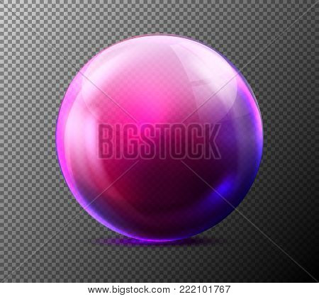 Vector realistic glass purple sphere. Glossy empty crystal globe, bubble, pearl with reflections, grey transparent background illustration. Shiny 3d magic abstract circle orb for decoration design.