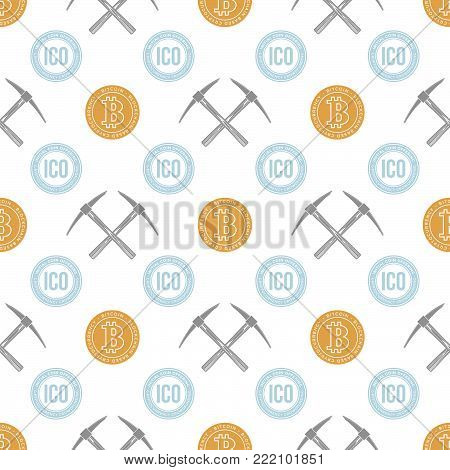 Crypto Currency Blockchain Seamless Pattern.