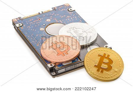Virtual Coins Bitcoin Like Jewel Isolated On White Background, Concept Of Overvaluation Concept