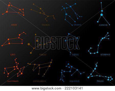 Set of zodiac constellations. Horoscope set: Aries, Leo, Sagitarius, Capricorn, Taurus, Virgo, Libra, Aquarius, Gemini, Cancer, Scorpio, Pisces