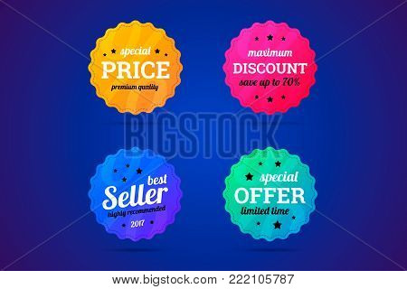 Set of business badges for sale and other. Special price, maximum discount, best seller and special offer badges. Vector illustration.
