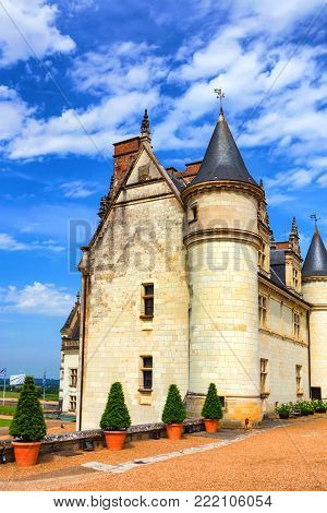 Beautiful view of Amboise castle on sunny day. The royal castle of Amboise is classified world heritage by Unesco.