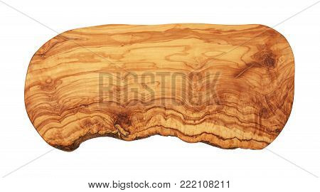 Close up one shaped brown olive wood cutting board with vivid woodgrain pattern isolated on white background