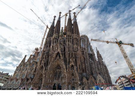 Sagrada Familia Church in Barcelona by Gaudi. Barcelona, Spain-September 2017.