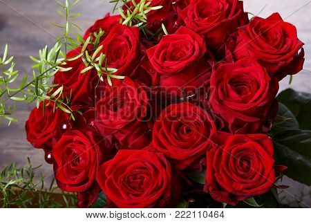 Luxury bouquet made of red roses in flower shop Valentines Bouquet of red roses. Birthday, Mother's, Valentines, Women's, Wedding Day concept