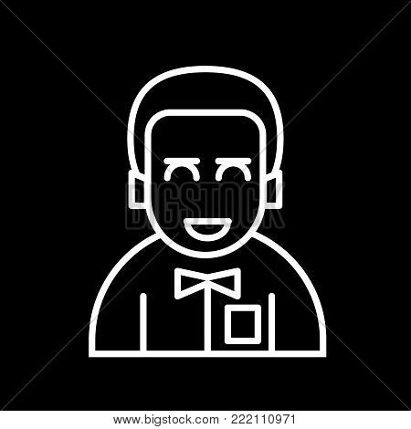 Male avatar icon suitable for info graphics, websites and print media and interfaces. Line vector icon. man with a tie. bridegroom. Outline design