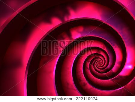 Purple Brilliant Metal Spiral - Abstract Bright Helical Background