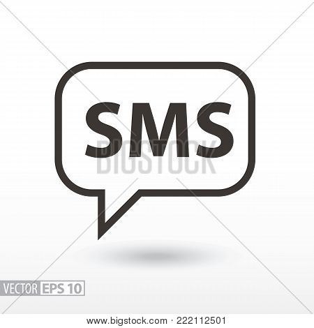 SMS flat Icon. Sign sms message. Vector logo for web design, mobile and infographics. Vector illustration eps10. Isolated on white background.