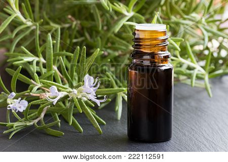 A dark bottle of rosemary essential oil with fresh blooming rosemary twigs on a dark background