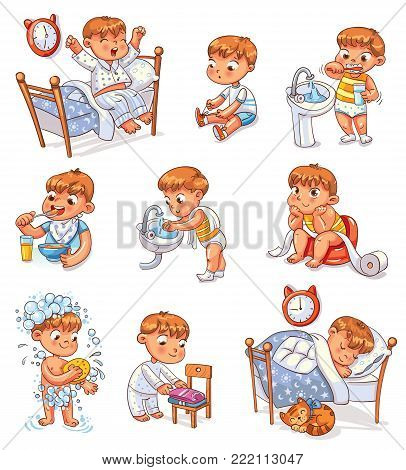 Daily routine activities. Baby sitting children's pot. Boy brushing his teeth. Kid neatly folds his clothes. Boy washes his hands. Child taking shower. Wake up in morning. Eating breakfast. Set