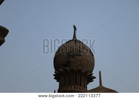 domes and towers of the huge mausoleum Gol-Gumbaz in the city of Bidzhapur in India