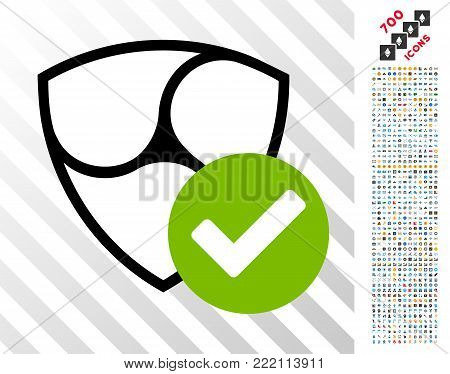 Nem Valid pictograph with 7 hundred bonus bitcoin mining and blockchain graphic icons. Vector illustration style is flat iconic symbols design for blockchain websites.