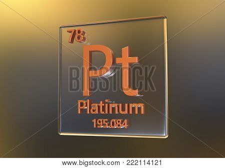 Platinum chemical element on colorful dark background, 3D illustration poster